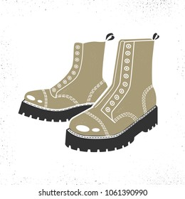 Army Boots isolated on white background.Vector illustration.
