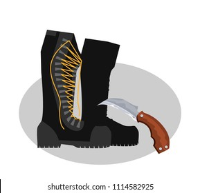 Army boots, boots and a knife. Colorful hand drawn vector stock illustration.