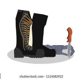 Army boots, boots, knife and rope. Colorful hand drawn vector stock illustration.