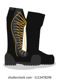 Army boots, Walking and Hiking Shoes in a flat style. Colorful hand drawn vector stock illustration.