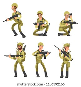 Army cartoon man soldiers in uniform isolated on white background. Military concept vector illustration