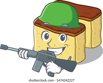 Army castella cake isolated in the cartoon
