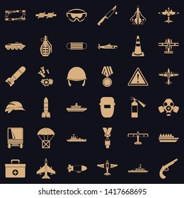 Army depot icons set. Simple set of 36 army depot vector icons for web for any design