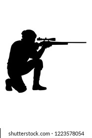 Army elite forces, police tactical unit, SWAT team sniper standing on one knee, aiming with telescopic optical sight, shooting with sniper rifle, black vector silhouette isolated on white background
