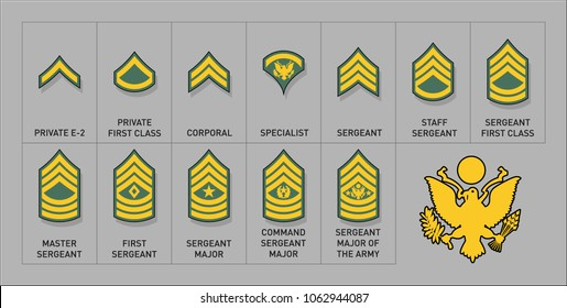 Army Enlisted Rank Insignia - Isolated Vector Illustration