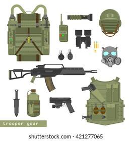 Army equipment vector illustration on white background. Helmet, jacket, knife, grenades, shells, pistol, rifle. Modern army combat gear ammunition. Flat style, army items set.