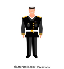 Army general. Military man. Happy veterans day design element. Cartoon style.