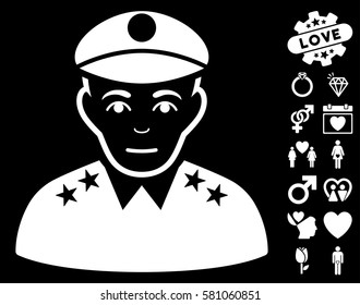 Army General pictograph with bonus love pictures. Vector illustration style is flat iconic white symbols on black background.