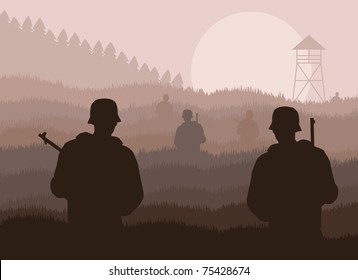 Army guarded military border zone illustration