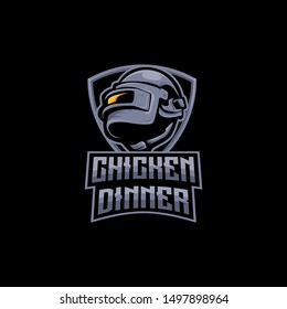 army helmet e-sports logo gaming mascot, player unknown battlegrounds logo, winner winner chicken dinner with shield. pubg logo