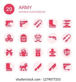 army icon set. Collection of 20 filled army icons included Gun, Nunchaku, Boot, Katana, Warrior, Weapons, Pistol, Barbed wire, Force, Arsenal, Boots, Trojan, Knife