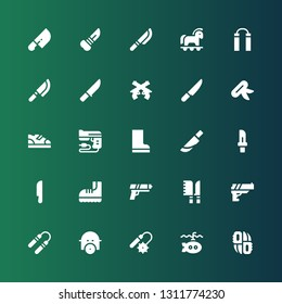 army icon set. Collection of 25 filled army icons included Knifes, Submarine, Weapons, Gas mask, Nunchaku, Gun, Knives, Boots, Knife, Pistol, Trojan