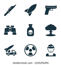 Army icons set with artillery, rocket, knife and other dangerous  elements. Isolated vector illustration army icons.