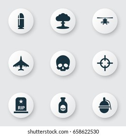 Army Icons Set. Collection Of Slug, Cranium, Aircraft And Other Elements. Also Includes Symbols Such As Danger, Tomb, Atom.