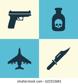 Army Icons Set. Collection Of Weapons, Aircraft, Cutter And Other Elements. Also Includes Symbols Such As Scalper, Cutter, Danger.