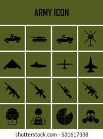 army icons set. flat vector mono symbols.