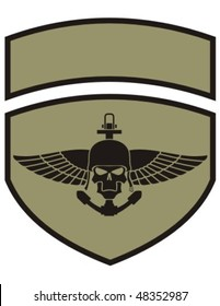 Army insignia with skull.