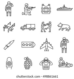 Army, line icons set. Military service, symbols collection. Servicemen. Training and preparation of soldiers, vector linear illustration