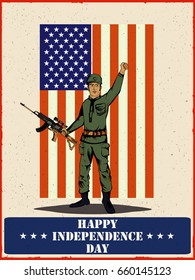 Army man on 4th of July Happy Independence Day America background in vector