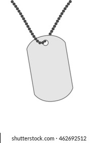 Army medallion on a chain isolated on white background.