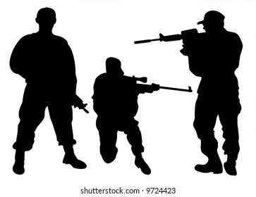 Army men silhouettes