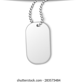 Army metal jetton on a chain. White isolated element design