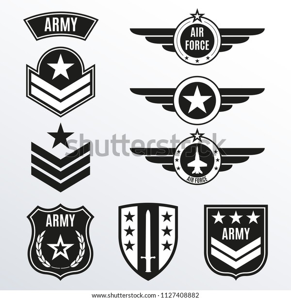 Army Military Badge Set Air Force Stock Vector (Royalty Free