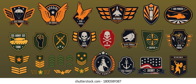 Army military badge vector illustration set. Cartoon flat militarism items collection with American soldier chevrons, patches and airborne retro label, armed forces emblems of eagles stars anchor