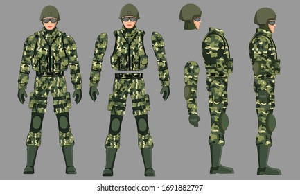 army Military soldier with Uniform ready to animate