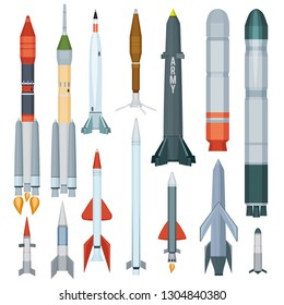 Army missile. Flight armour propeller rocket engine weapon military technology war vector collection