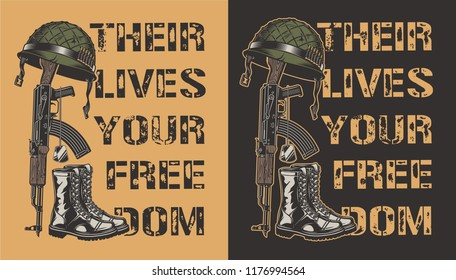 Army motivational poster with gun, helmet and boot. Vector illustration
