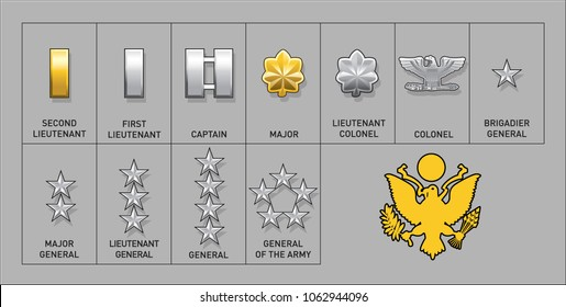 Army Officer Rank Insignia - Isolated Vector Illustration