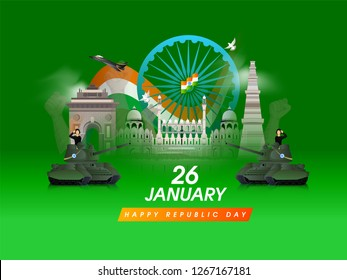 Army officers on military tank in saluting pose with famous Indian monuments on glossy green background for Happy Republic Day celebration.