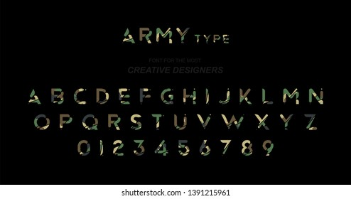 Army Original font a set of letters and numbers in camouflage for creative design template. Flat illustration EPS10.