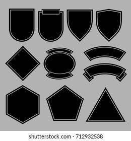 Army patches or military badges template design. Black shape form. Vector illustration