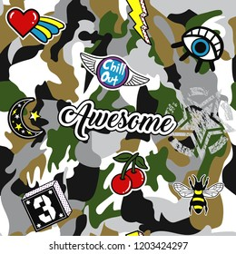 Army seamless pattern. Repeating camouflage print with cool patches. Hand drawn camo fashion background with pop art and military badges. Vector illustration