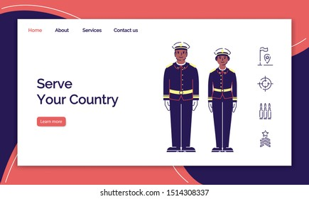Army service landing page vector template. US soldiers website interface idea with flat illustrations. Officers, sergeants homepage layout. Military guard web banner, webpage cartoon concept