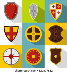 Army shield icons set. Flat illustration of 9 army shield vector icons for web