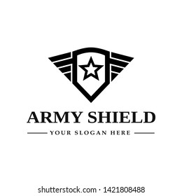 Army shield vector template logo. High quality design with wing or star symbol. Can be used for emblem.