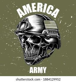 army skull and an america flag on helmet