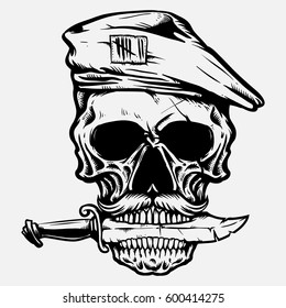 army skull with knife in the mouth hand drawing