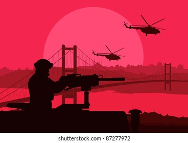 Army soldier in city landscape background illustration