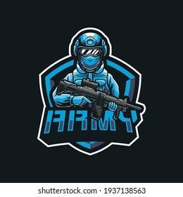 Army soldier mascot logo design illustration