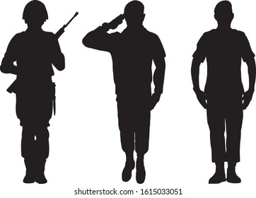 Army Soldier Silhouette Vector. Military silhouette.