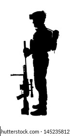 Army soldier with sniper rifle on duty vector silhouette (Memorial day, Veteran's day, 4th of July, Independence day ) Soldier keeps the watch, on the guard. Ranger on border. Commandos saluting.