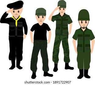 Army soldier standing respect warrior border, cute occupation illustration vector