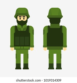 Army soldier vector flat illustration