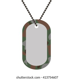 Army soldiers badge tag medallion metal chain vector illustration.