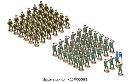 Army soldiers on parade. Military men with weapon in flat style. Flat style.