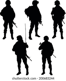 army soldiers with rifle silhouette vector collection.
